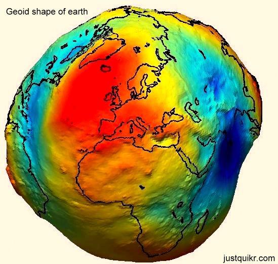 Geoid shape of earth