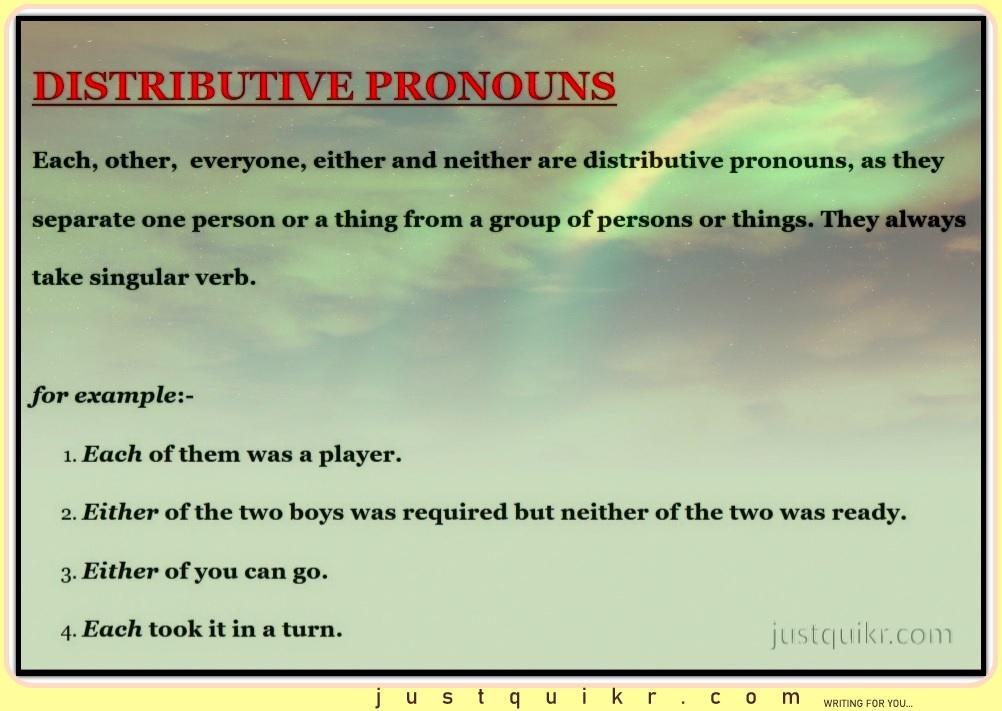 DISTRIBUTIVE PRONOUNS
