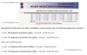 Ssc Cgl Post Preference For Male Candidates