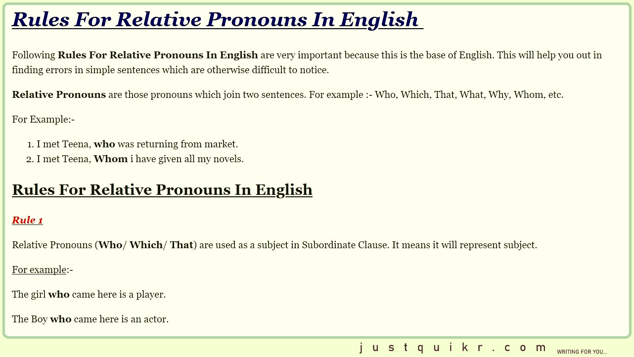 Rules For Relative Pronouns In English