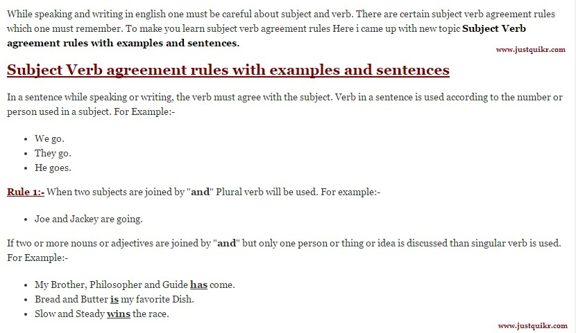 Subject Verb agreement rules with examples and sentences