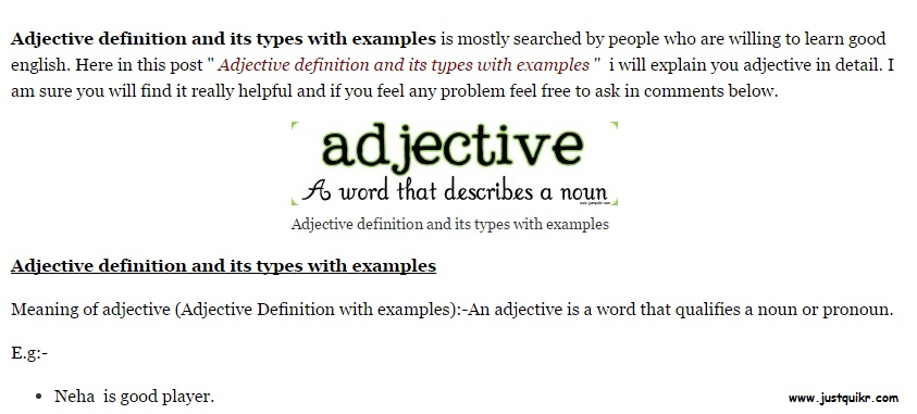 Adjective definition and its types with examples