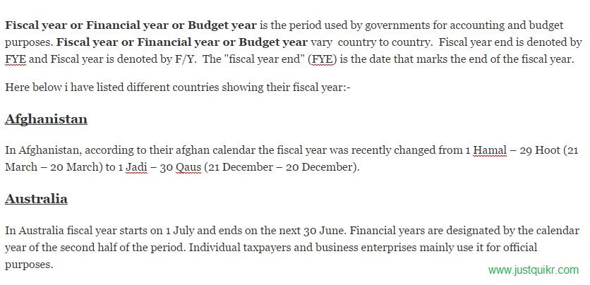 Fiscal year ,Financial year, Budget year