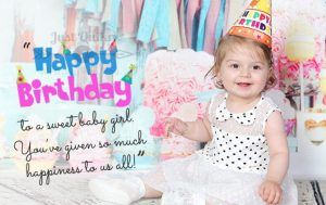 Creative  Happy Birthday Wishing Cake Status Images for One year old Girl