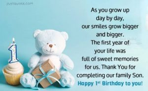 Creative Happy Birthday Wishes Thoughts Quotes Lines Messages in English for One year Old Boy
