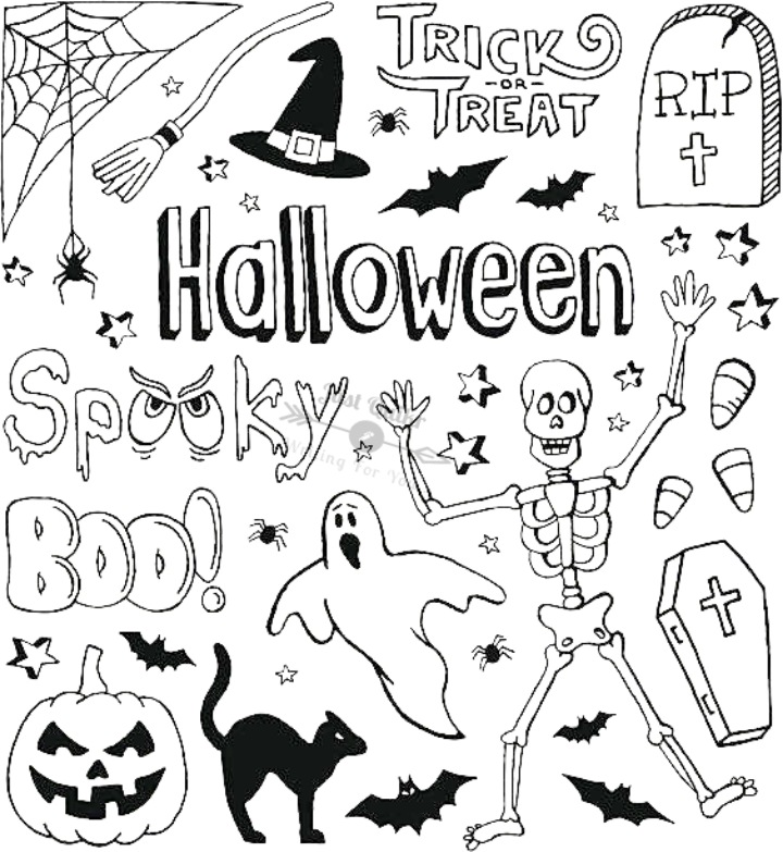 Halloween Day Cartoon HD Images Free Black and White