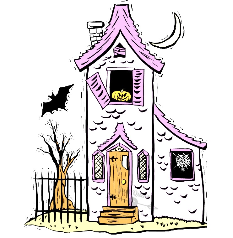 Halloween Day Cartoon Haunted House Drawings