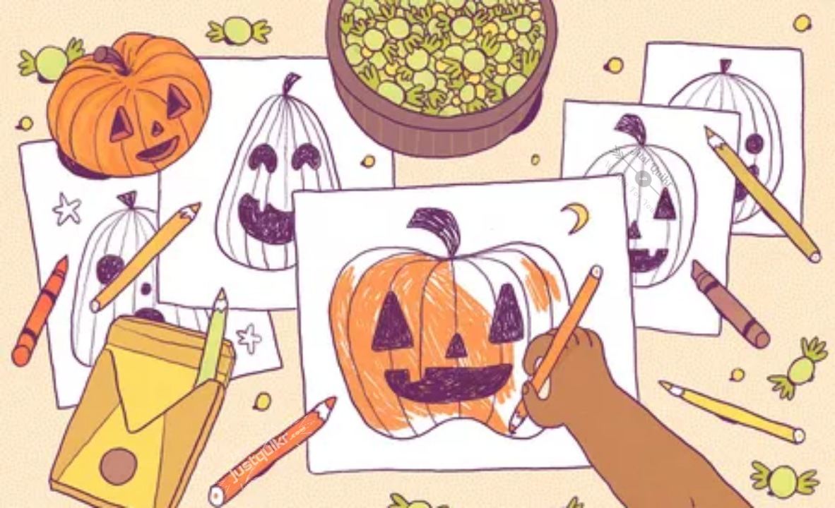 Halloween Day Coloring Pages Drawings Black and White