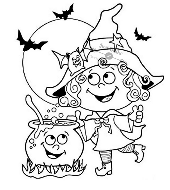 Halloween Day Coloring Pages Drawings for Cards