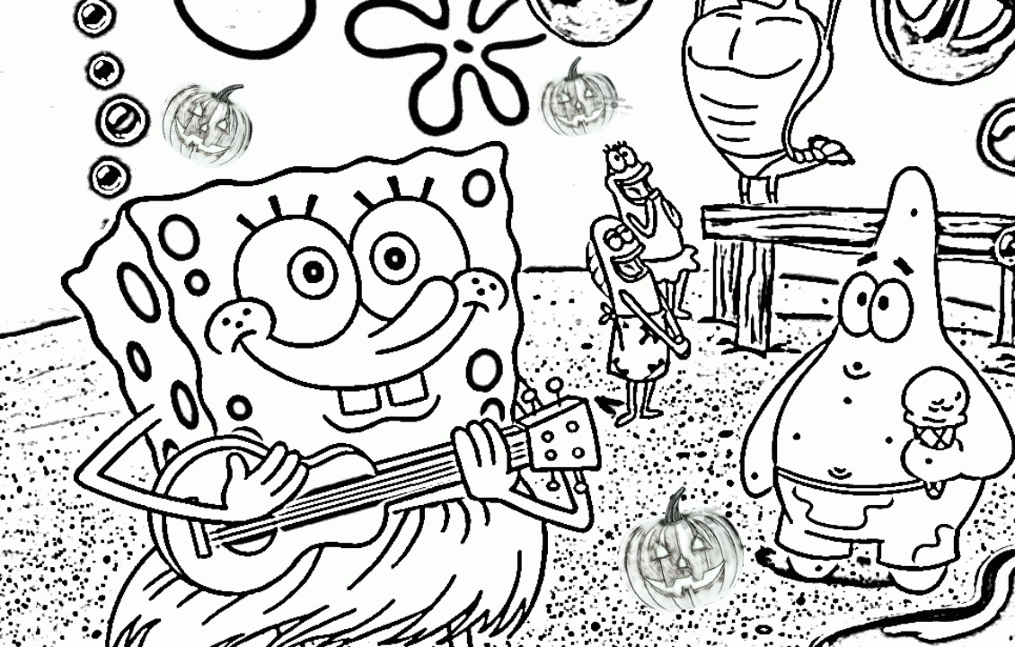 Halloween Day Coloring Pages Drawings for Spongebob