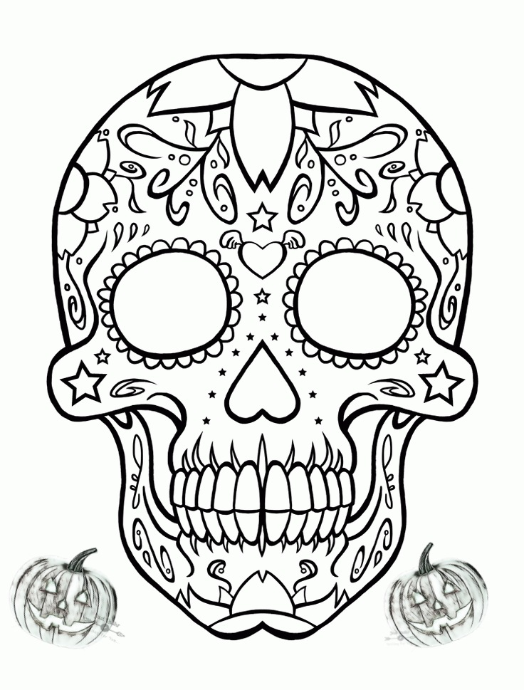 Halloween Day Coloring Pages Drawings for Sugarskull