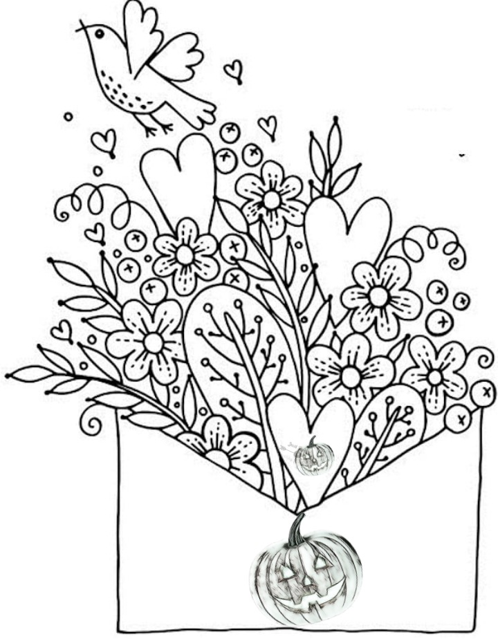 Halloween Day Coloring Pages Drawings for Valentines