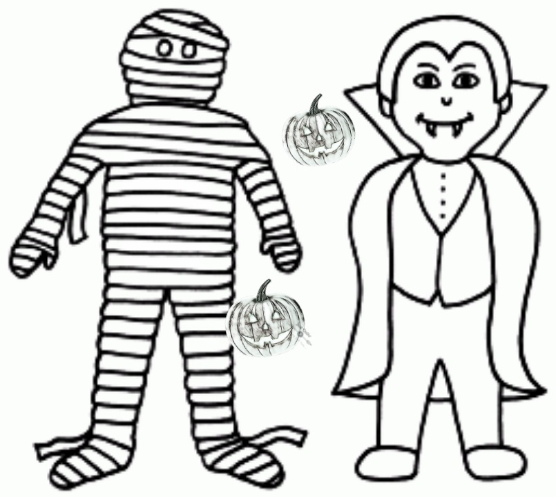 Halloween Day Coloring Pages Drawings for Vampire