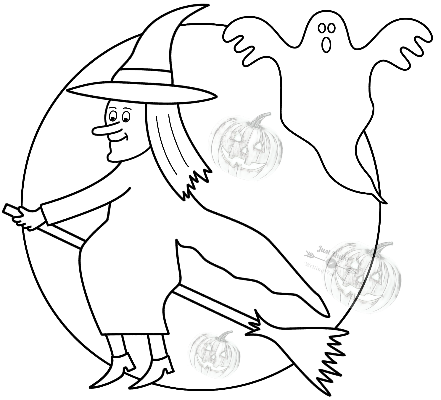 Halloween Day Coloring Pages Drawings for Witch on Broom