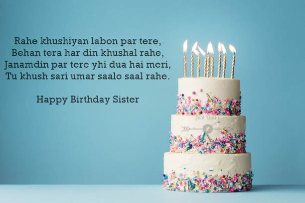 Happy Birthday Cake HD Pics Images with Shayari Sayings for Litle Brother Sister