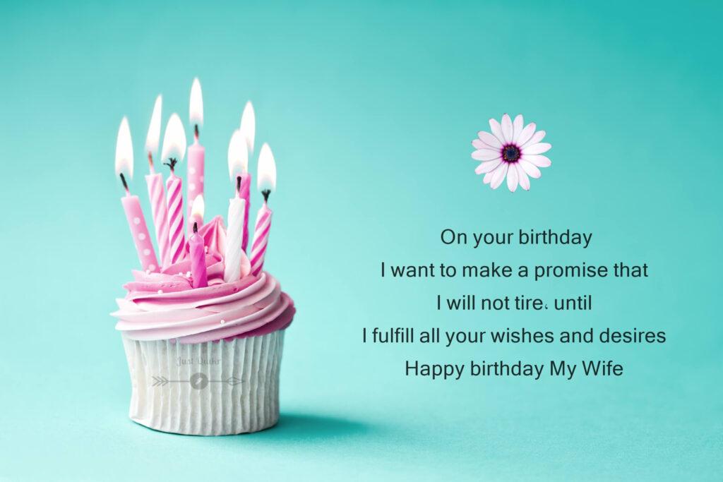 Happy Birthday Cake HD Pics Image with Shayari Sayings for Wife in Punjabi