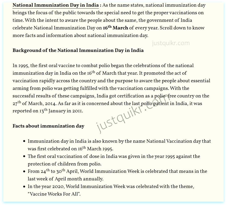 National Immunization Day in India